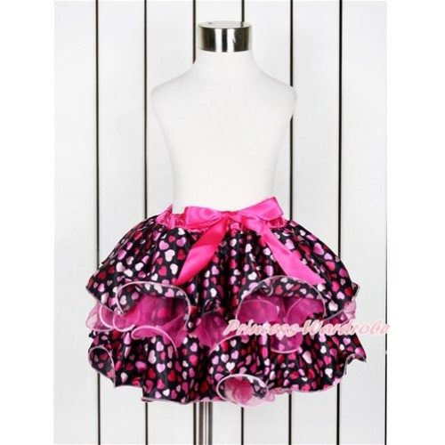 Hot Pink Hot Light Pink Heart Flower Petal Full Pettiskirt With Hot Pink Bow B241