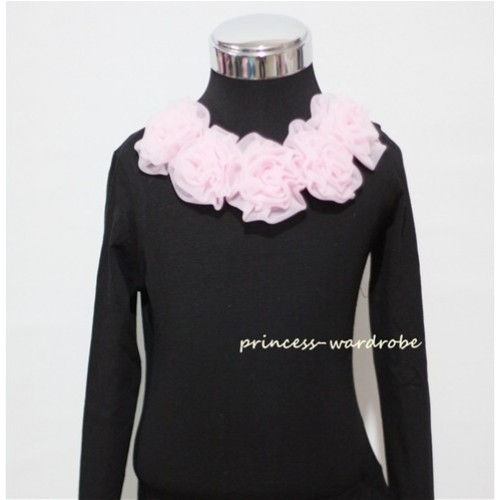 Black Long Sleeves Tops with Pink Rosettes TB22