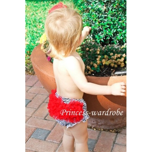 Hot Red Zebra Ruffles Bloomers B11