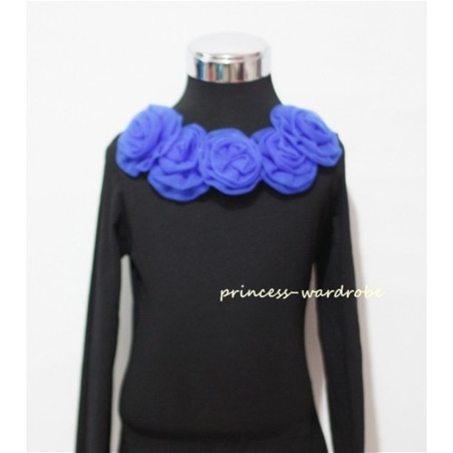 Black Long Sleeves Tops with Royal Blue Rosettes TB31