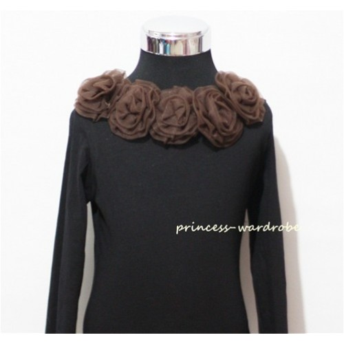 Black Long Sleeves Tops with Brown Rosettes TB32