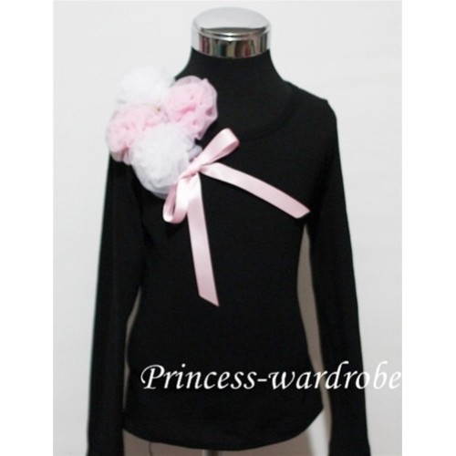 Black Long Sleeve Top with Bunch of White Pink Rosettes and Pink Bow TB71