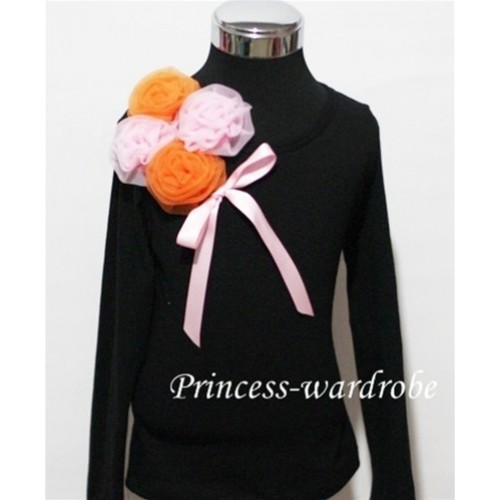 Black Long Sleeve Top with Bunch of Orange Pink Rosettes and Pink Bow TB73