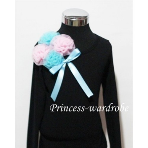 Black Long Sleeve Top with Bunch of Light Blue Pink Rosettes and Blue Bow TB76