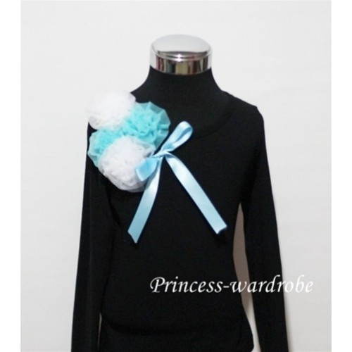 Black Long Sleeve Top with Bunch of White Blue Rosettes and Blue Bow TB77