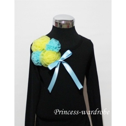 Black Long Sleeve Top with Bunch of Yellow Blue Rosettes and Blue Bow TB79