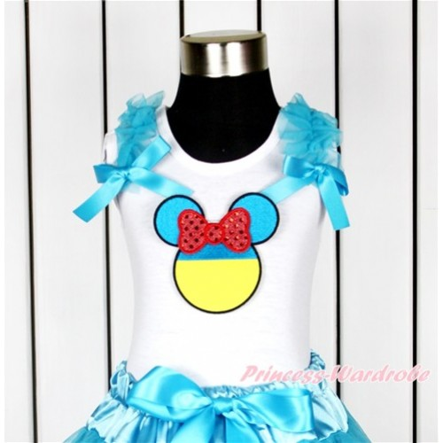 World Cup White Tank Top With Peacock Blue Ruffles & Peacock Blue Bow With Sparkle Red Ukraine Minnie Print TB624