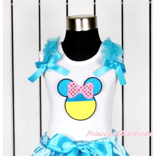 World Cup White Tank Top With Peacock Blue Ruffles & Peacock Blue Bow With Sparkle Light Pink Ukraine Minnie Print TB625