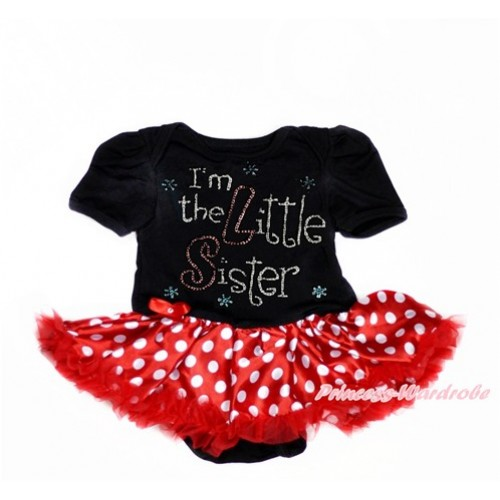 Black Baby Bodysuit Jumpsuit Minnie Dots Pettiskirt with Sparkle Crystal Bling Rhinestone I'm the Little Sister Print JS3011