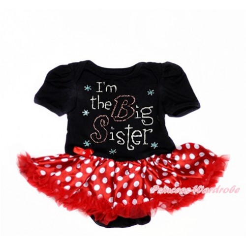 Black Baby Bodysuit Jumpsuit Minnie Dots Pettiskirt with Sparkle Crystal Bling Rhinestone I'm the Big Sister Print JS3012