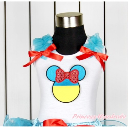 World Cup White Tank Top With Peacock Blue Ruffles & Red Bow With Sparkle Red Ukraine Minnie Print TB632