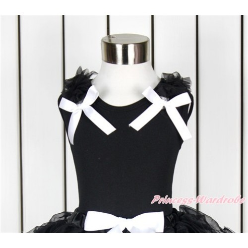Black Tank Top with Black Ruffles and White Bow TB647