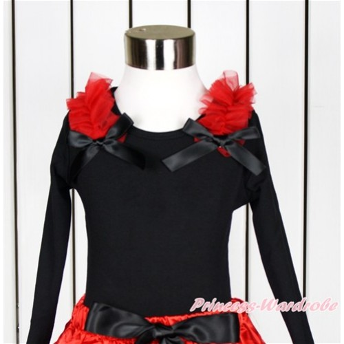 Black Long Sleeves Top with Red Ruffles & Black Bow TO345