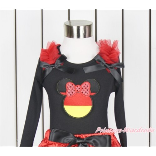 World Cup Black Long Sleeves Top With Red Ruffles & Black Bow with Sparkle Red Germany Minnie Print TO353