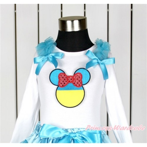 World Cup White Long Sleeves Top With Peacock Blue Ruffles & Peacock Blue Bow with Sparkle Red Ukraine Minnie Print TW423