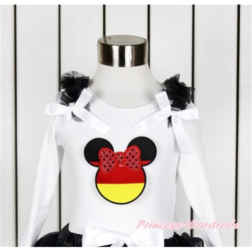 World Cup White Long Sleeves Top With Black Ruffles & White Bow with Sparkle Red Germany Minnie Print TW449