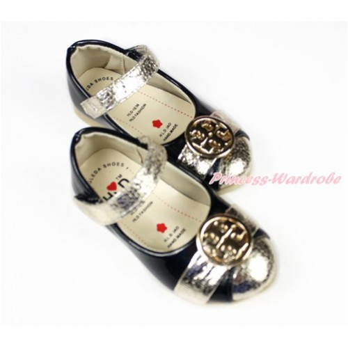 Black with Gold Cross Girl Shoes 889Black