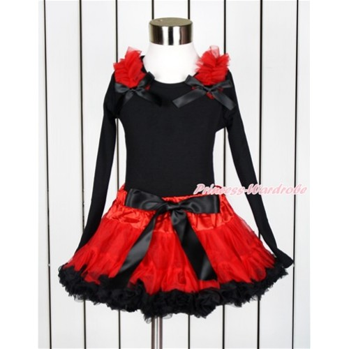 Black Long Sleeve Top with Red Ruffles & Black Bow with Matching Red Black Pettiskirt  MW427