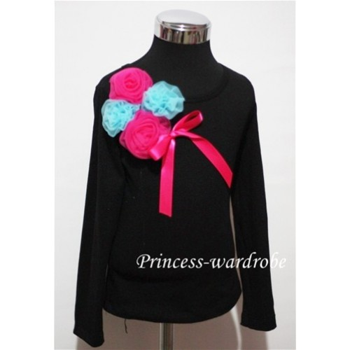 Black Long Sleeve Top with Bunch of Hot Pink Blue Rosettes and Hot Pink Bow TB82