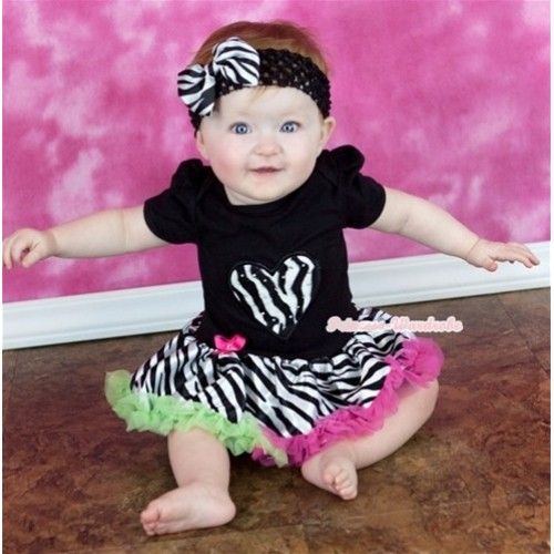 Black Baby Jumpsuit Rainbow Zebra Pettiskirt With Zebra Heart Print With Black Headband Zebra Satin Bow JS136