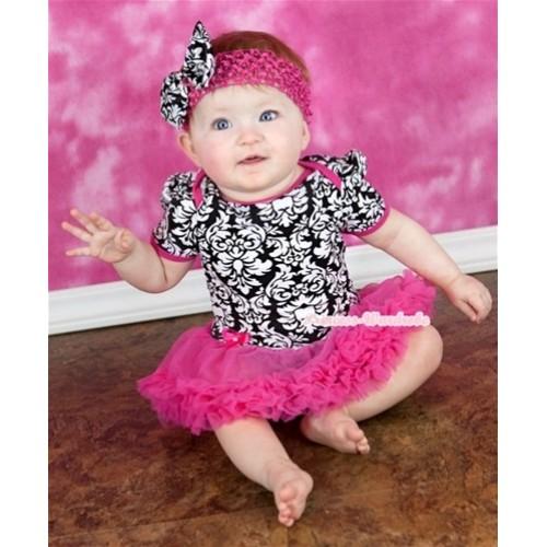 Hot Pink Damask Baby Jumpsuit Hot Pink Pettiskirt With Hot Pink Headband Damask Satin Bow JS101
