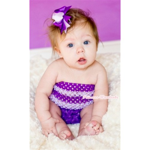 Dark Purple Big Bow Dark Purple Rose Panties Bloomers with Dark Light Purple Crochet Tube Top and Dark Light Purple Ribbon Bow 3PC Set CT498