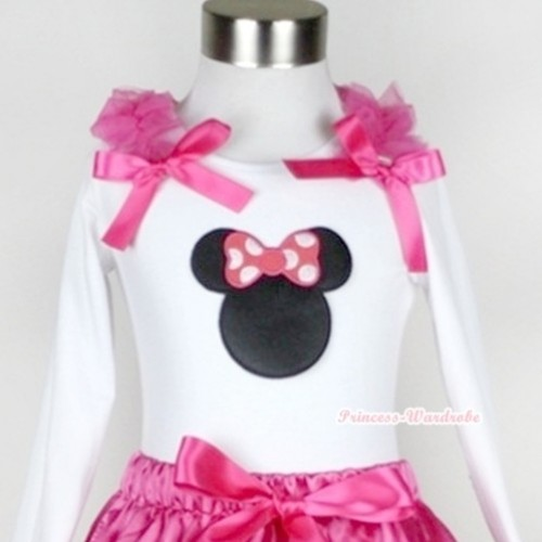 White Long Sleeves Top with Hot Pink Minnie Print With Hot Pink Ruffles & Hot Pink Bow T285
