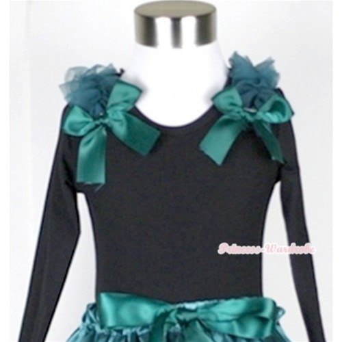 Black Long Sleeves Top with Teal Green Ruffles & Teal Green Bow TB33