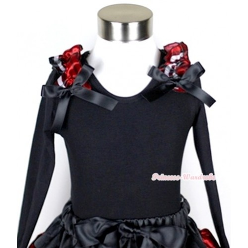 Black Long Sleeves Top with Red Black Checked Ruffles & Black Bow TB34