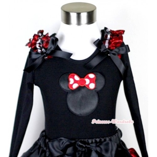 Black Long Sleeves Top with Minnie Print With Red Black Checked Ruffles & Black Bow TB37
