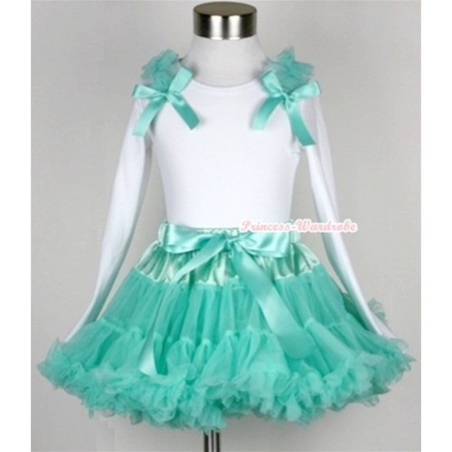Aqua Blue Pettiskirt with Matching White Long Sleeve Top with Aqua Blue Ruffles & Aqua Blue Bow MW163