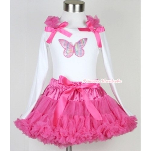 Hot Pink Pettiskirt with Rainbow Butterfly Print White Long Sleeve Top with Hot Pink Ruffles & Hot Pink Bow MW170