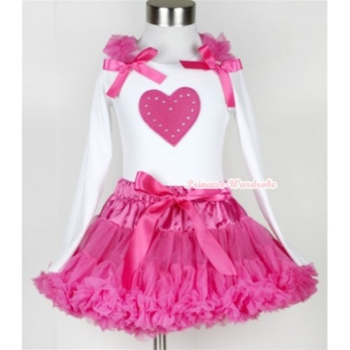 Hot Pink Pettiskirt with Hot Pink Heart Print White Long Sleeve Top with Hot Pink Ruffles & Hot Pink Bow MW171