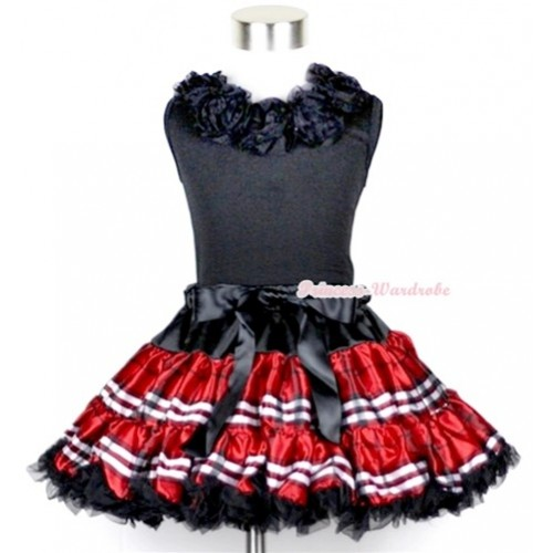Black Tank Tops with Black Rosettes & Red Black Checked Pettiskirt MW104
