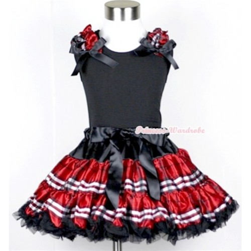 Black Tank Tops with Red Black Checked Ruffles and Black Bow & Red Black Checked Pettiskirt MW108