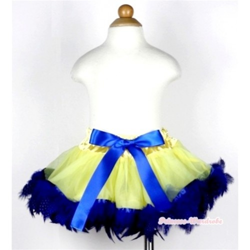 Yellow Mix Royal Blue Feather Newborn Pettiskirt N114