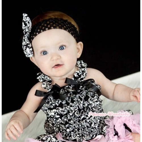 Black Damask Ruffles Baby Tank Top with Black Bow Ribbon RT15