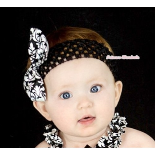 Black Headband with Damask Satin Bow H554
