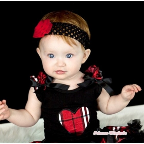 Black Tank Top With Red Black Checked Heart Print with Red Black Checked Ruffles & Black Bow TB268