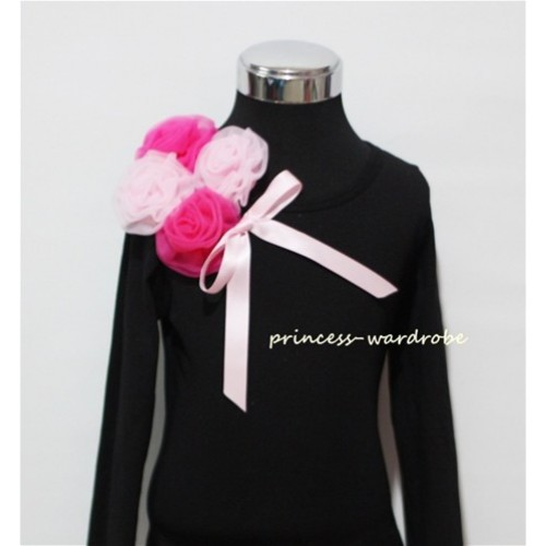 Black Long Sleeve Top with Bunch of Hot Light Pink Rosettes and Pink Bow TB70