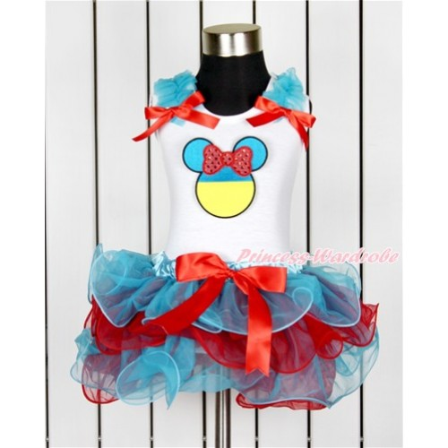 World Cup White Tank Top With Peacock Blue Ruffles & Red Bow & Sparkle Red Ukraine Minnie Print With Red Bow Peacock Blue Red Petal Pettiskirt MG1025
