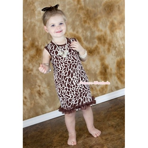 Brown Giraffe One-Piece Pettidress With Brown Ruffles CD016