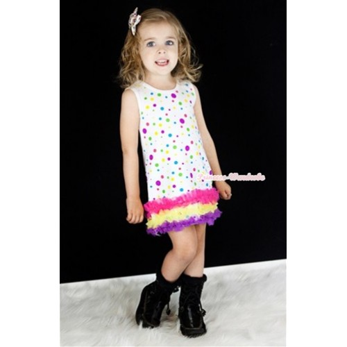 White Rainbow Polka Dots One-Piece Pettidress With Hot Pink Yellow Dark Purple Ruffles CD017