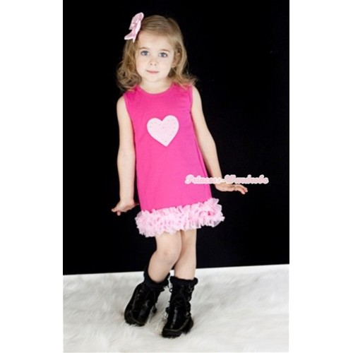 Hot Pink One-Piece Pettidress With Triple Light Pink Ruffles With Light Pink Heart Print CD018