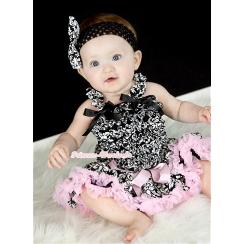 Damask Baby Ruffles Tank Top with Light Pink Damask Baby Pettiskirt with Black Headband Damask Satin Bow NR46