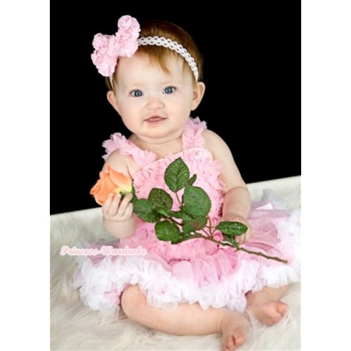 Light Pink Baby Ruffles Tank Top with Light Pink White Baby Pettiskirt NR47