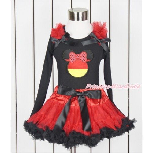 World Cup Black Long Sleeve Top with Red Ruffles & Black Bow with Sparkle Red Germany Minnie Print with Red Black Pettiskirt MW435