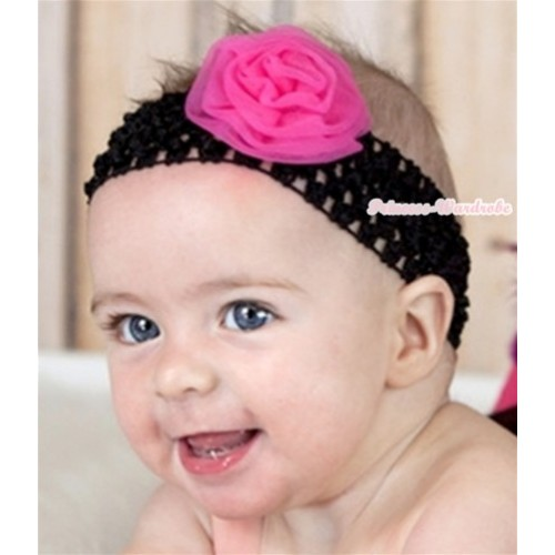 Black Headband with Hot Pink Rosettes H556