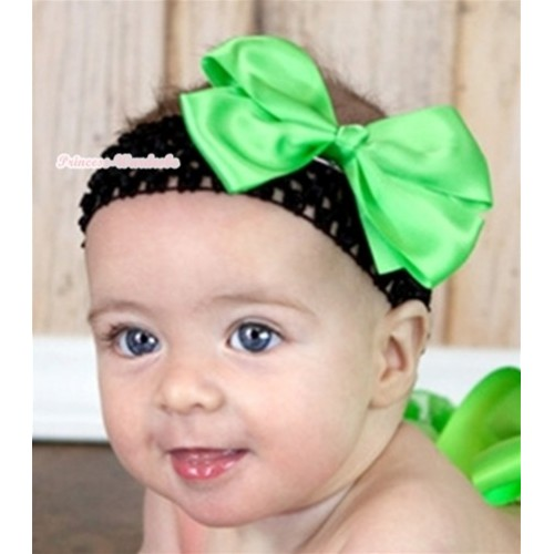Black Headband with Light Green Silk Bow H557