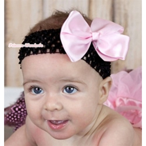 Black Headband with Light Pink Silk Bow H558